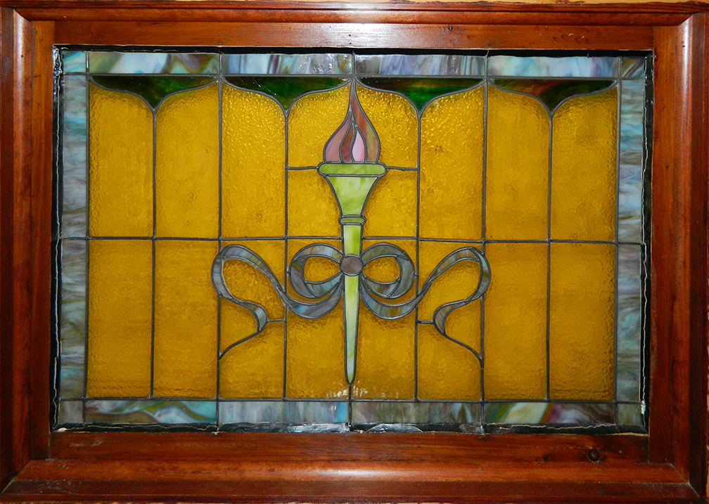 early 20th c stained glass window with frame 19 12 h x 32